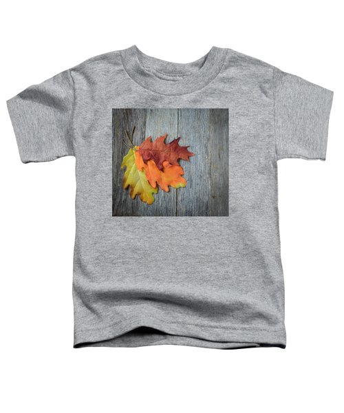 Autumn Leaves On Rustic Wooden Background Toddler T-Shirt