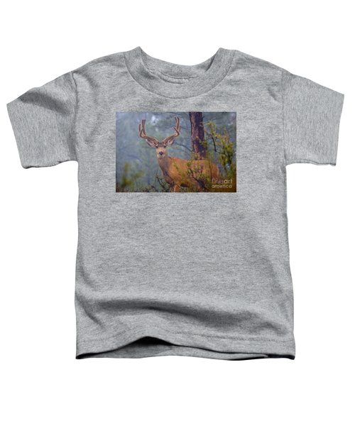 Buck Deer In A Mystical Foggy Forest Scene Toddler T-Shirt
