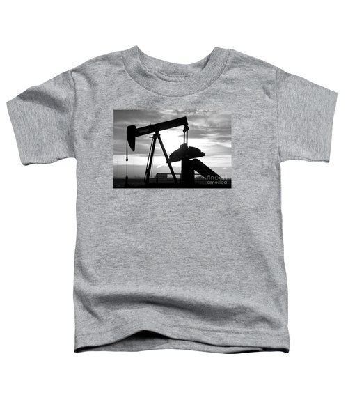 Oil Well Pump Jack Black And White Toddler T-Shirt