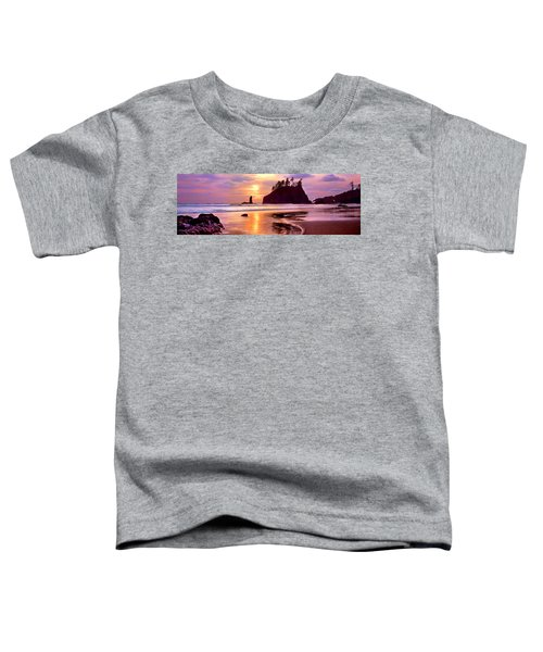 Silhouette Of Sea Stacks At Sunset Toddler T-Shirt