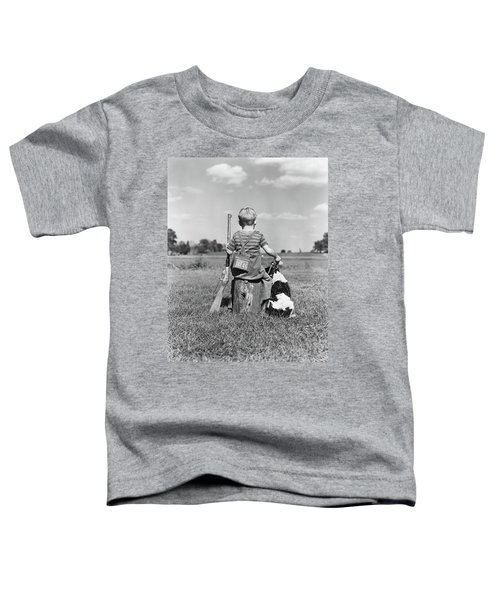 1940s Back View Of Boy Wearing Hunting Toddler T-Shirt