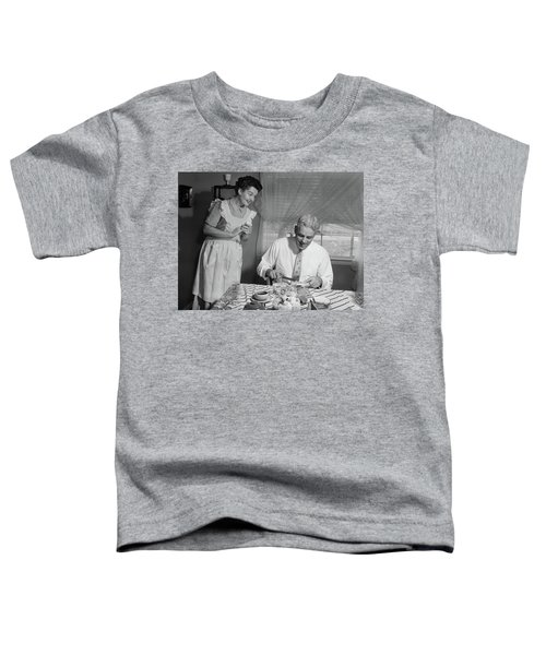 1950s Husband Eating Dinner As Wife Toddler T-Shirt