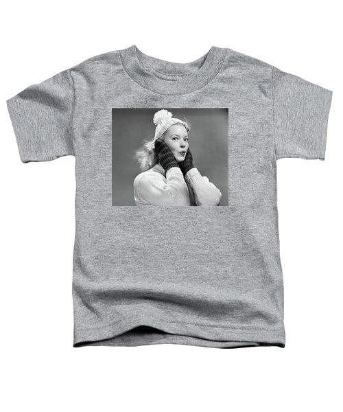 1950s Young Woman Pursing Lips Hands Toddler T-Shirt