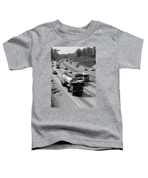 1960s Tanker Truck Traveling On Busy Toddler T-Shirt
