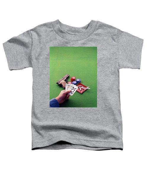 1970s Hand Holding Royal Straight Flush Toddler T-Shirt