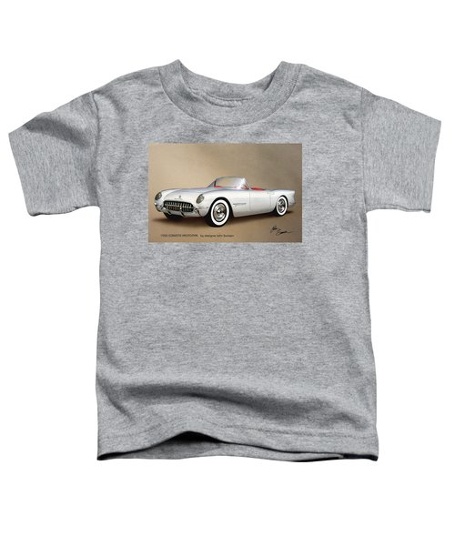 1953 Corvette Classic Vintage Sports Car Automotive Art Toddler T-Shirt by John Samsen