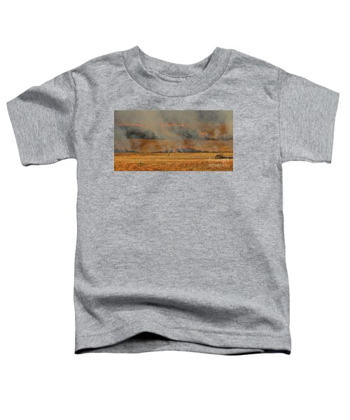 A Lone Firefighter On The Norbeck Prescribed Fire. Toddler T-Shirt