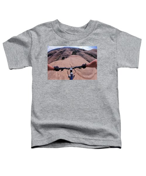 A View Of A Female Mountain Bikers Toddler T-Shirt