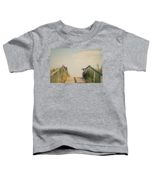 Bicycle On Beach Boardwalk Toddler T-Shirt