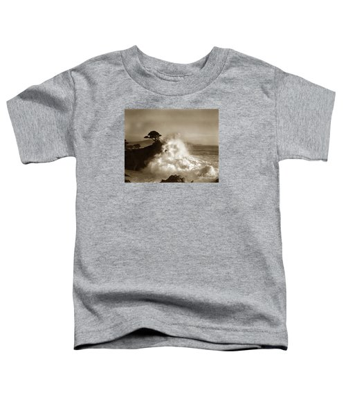 Big Wave Hitting The Lone Cypress Tree Pebble Beach California 1916 Toddler T-Shirt