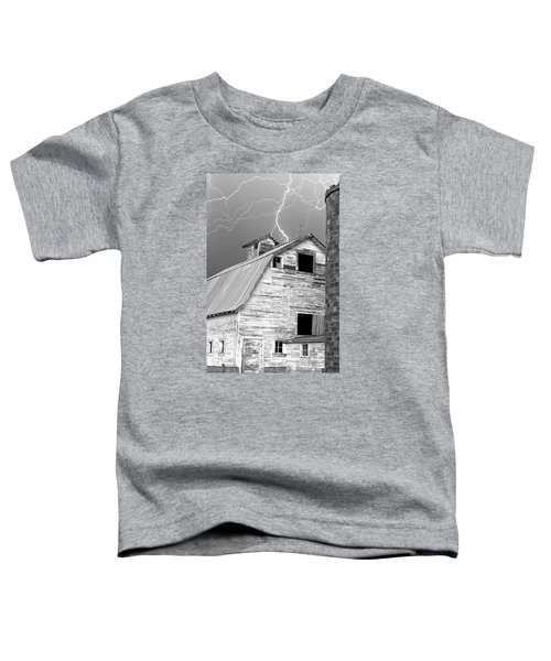 Black And White Old Barn Lightning Strikes Toddler T-Shirt