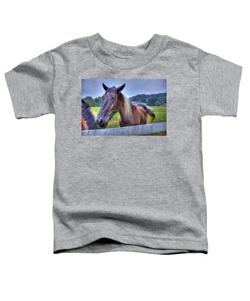Toddler T-Shirt featuring the photograph Black Horse At A Fence by Jonny D