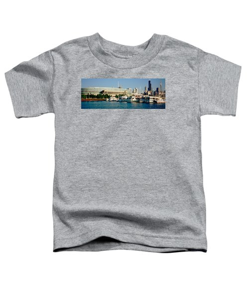 Boats Moored At A Dock, Chicago Toddler T-Shirt by Panoramic Images