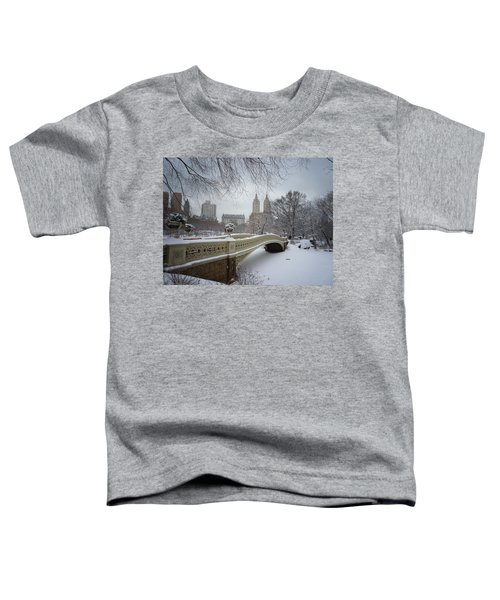 Bow Bridge Central Park In Winter  Toddler T-Shirt by Vivienne Gucwa