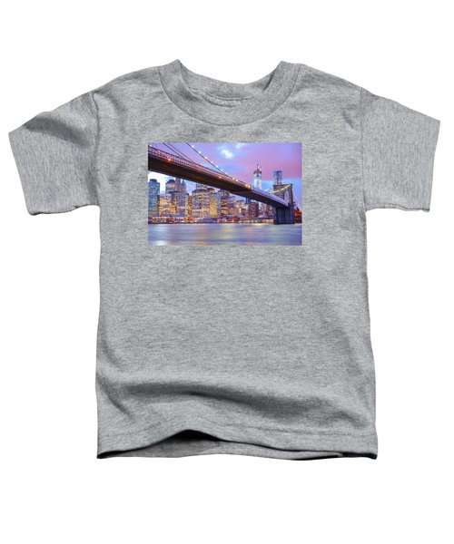 Brooklyn Bridge And New York City Skyscrapers Toddler T-Shirt