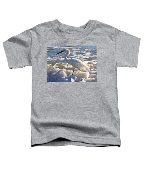 Bubbles Around Snowy Egret Toddler T-Shirt