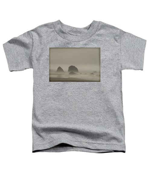 Toddler T-Shirt featuring the photograph Cannon Beach In A Fog Oregon by Yulia Kazansky