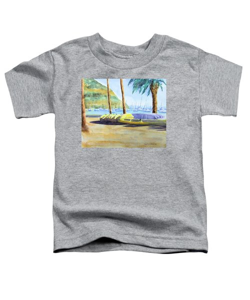 Canoes And Surfboards In The Morning Light - Catalina Toddler T-Shirt