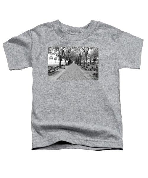 Charleston Waterfront Park Walkway - Black And White Toddler T-Shirt