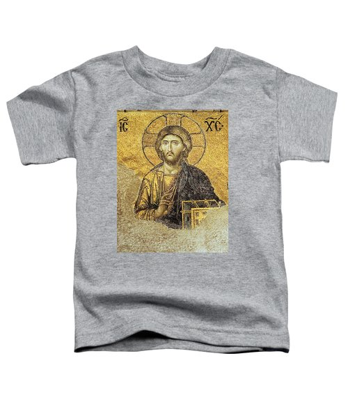 Christ Pantocrator-detail Of Deesis Mosaic Hagia Sophia-judgement Day Toddler T-Shirt
