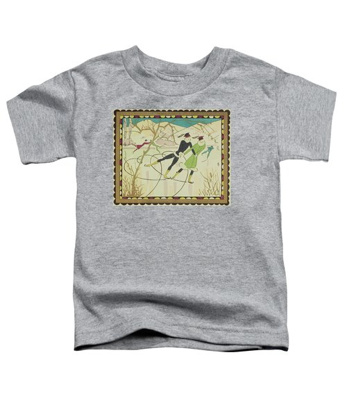Christmas Card With Figure Skaters Toddler T-Shirt