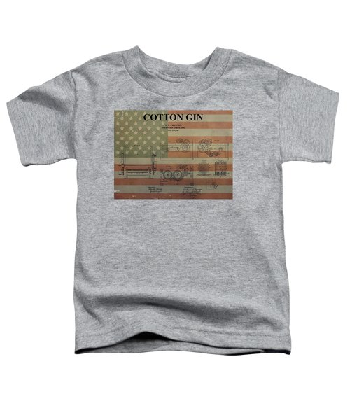 Cotton Gin Patent Aged American Flag Toddler T-Shirt