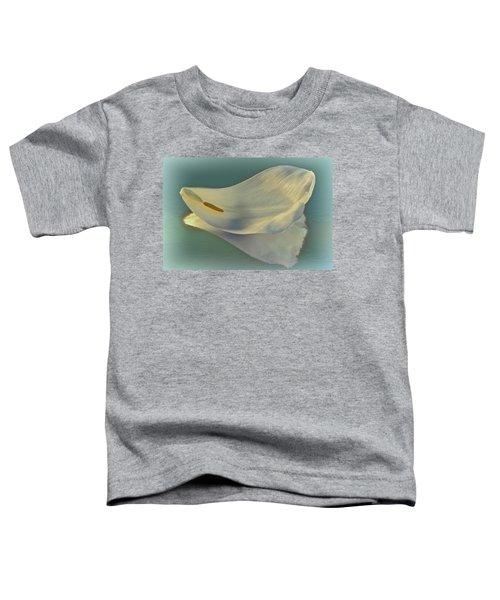 Fallen White Petal On Aqua Toddler T-Shirt