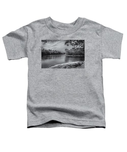Toddler T-Shirt featuring the photograph Fork In River Bw by Mark Myhaver