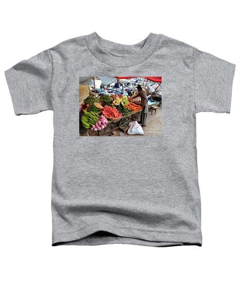 Fruit And Vegetable Seller Tends To His Cart Outside Empress Market Karachi Pakistan Toddler T-Shirt