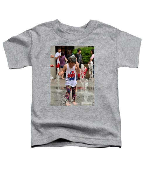 Girl Child Plays With Water At Fountain Singapore Toddler T-Shirt