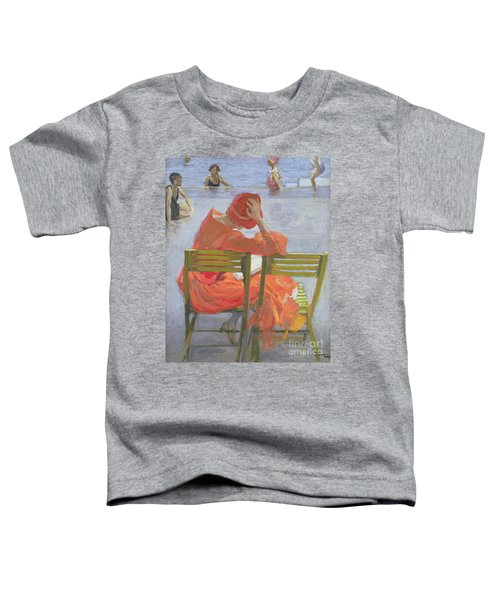 Girl In A Red Dress Reading By A Swimming Pool Toddler T-Shirt