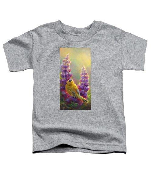 Golden Light 1 Wilsons Warbler And Lupine Toddler T-Shirt