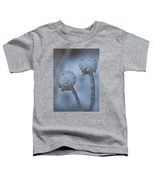 Ice-covered Winter Flowers With Blue Background Toddler T-Shirt