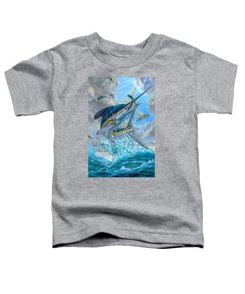 Jumping White Marlin And Flying Fish Toddler T-Shirt