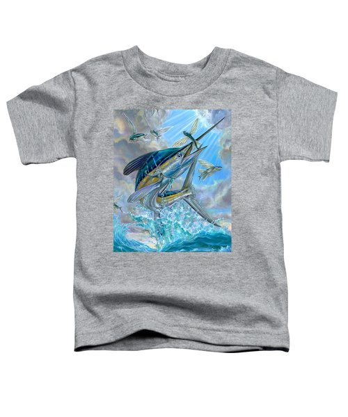 Jumping White Marlin And Flying Fish Toddler T-Shirt