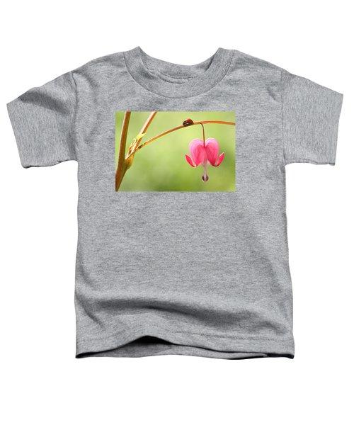 Ladybug And Bleeding Heart Flower Toddler T-Shirt