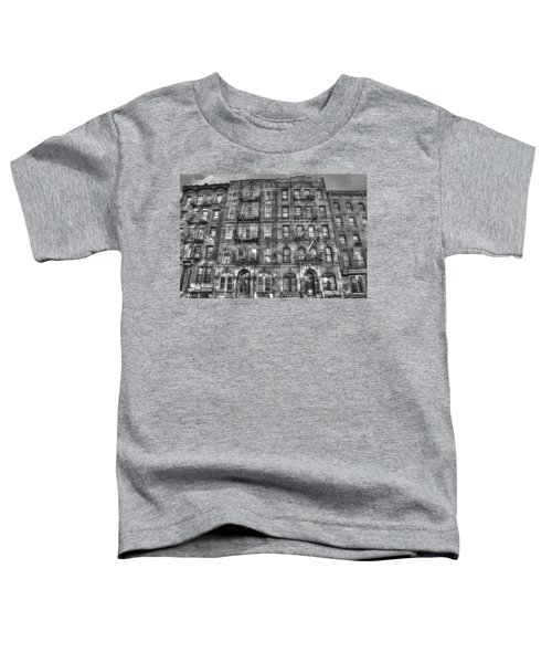Led Zeppelin Physical Graffiti Building In Black And White Toddler T-Shirt by Randy Aveille