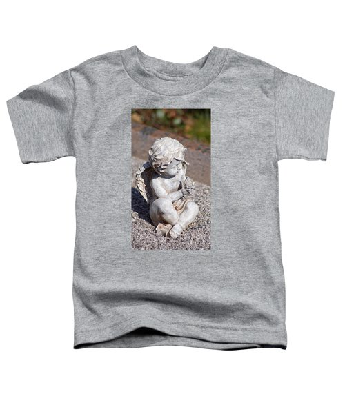 Little Angel With Bird In His Hand - Sculpture Toddler T-Shirt