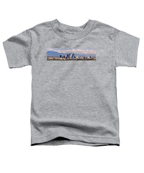 Los Angeles Skyline With Mountains In Background Toddler T-Shirt by Jon Holiday
