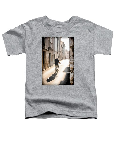 Man Riding Bicycle In Street In Puerto Pollenca Toddler T-Shirt