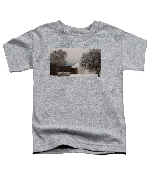 Melvin Village Barn In Winter Toddler T-Shirt