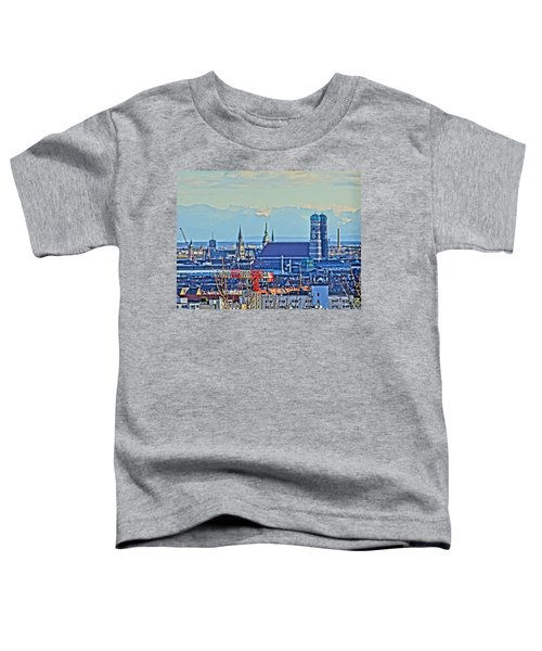 Munich Skyline With Church Of Our Lady With Alps Toddler T-Shirt