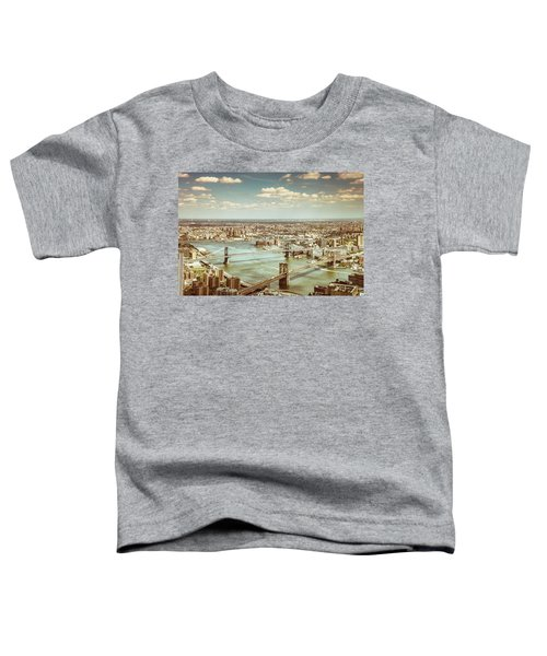 New York City - Brooklyn Bridge And Manhattan Bridge From Above Toddler T-Shirt by Vivienne Gucwa
