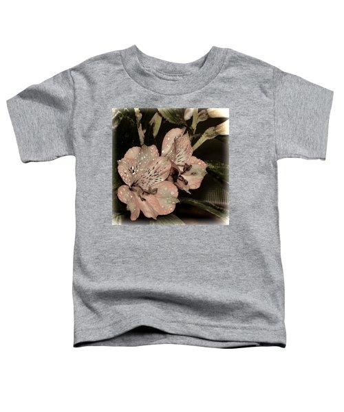 Pale Pink Lilies On Dark Background Toddler T-Shirt