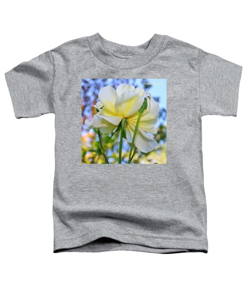 Pale Yellow Rose And Blue Sky Toddler T-Shirt