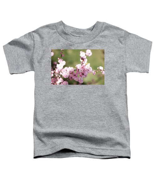 Pink Plum Branch On Green 2 Toddler T-Shirt