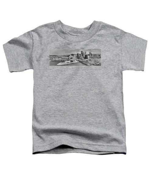 Pittsburgh Black And White Winter Panorama Toddler T-Shirt