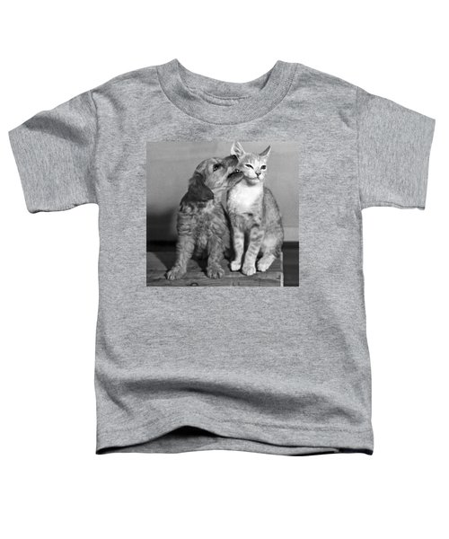 Puppy Nibbles On A Cat Toddler T-Shirt