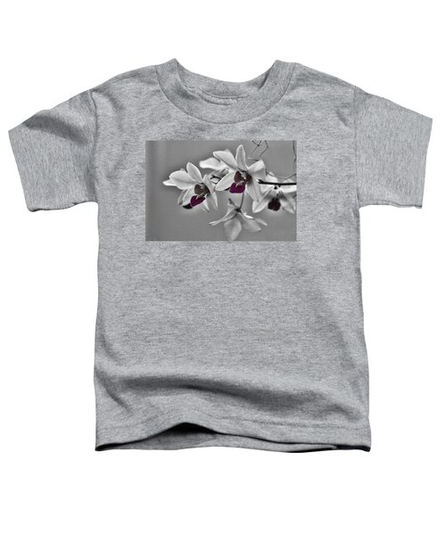 Purple And Pale Green Orchids - Black And White Toddler T-Shirt