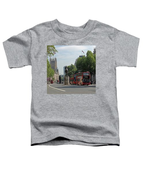 Red London Bus In Whitehall Toddler T-Shirt